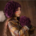 Gorgeous Knitted Wool Hats Women Winter Warm Sweet Rabbit Fur Flower Pearl Beret Caps - Purple