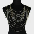 Halter Lingerie Sexy Showgirl Harness Slave Chain Shoulder Necklace Jewelry - Gold