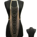Hot Sexy Body Chain Alloy Punk Bikini Bra Slave Harness Long Bib Necklace Jewelry - Gold