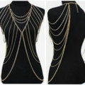 Hot Women Sexy Body Chain Alloy Party Evening Dress Decor Long Necklace Jewelry - Gold