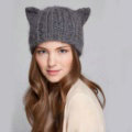 Lovely Girls Devil Horns Cat Ears Knitted Wool Hats Winter Warm Beanies Caps - Gray