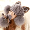 Luxury Big Fur Ball Cat Ears Knitted Wool Beanies Caps Winter Warm Devil Horns Hats - Gray