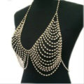 Luxury Bra Body Chain Beach Bikini Decro Pearl Pendant Necklace Jewelry - Sliver