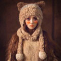 Luxury Cat Ears Knitted Wool Caps Hats Women Long Rabbit Fur Ball Hooded Scarf - Camel