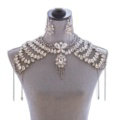 New Rhinestone Bridal Shoulder Chain Jewelry Luxury Wedding Stage Necklace - White