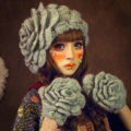 New Sweety Pearl Flower Knitted Wool Hats Girls Winter Warm Lace Beret Caps - Green