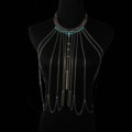 Personalized Body Chain Punk Dress Decro Gem Long Collar Necklace Jewelry - Blue