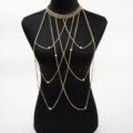 Personalized Body Chain Punk Dress Decro Pearl Pendant Necklace Jewelry - Gold