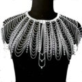 Personalized Rhinestone Shoulder Chain Bridal Wedding Necklace Jewelry - Silver