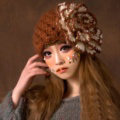Princess Sweet Girls Knitted Wool Hats Winter Warm Big Flower Beret Caps - Coffee White