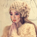 Princess Sweet Girls Knitted Wool Hats Winter Warm Flower Pearl Caps - Camel