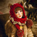 Retro Cat Ears Knitted Wool Caps Hats Women Long Rabbit Fur Ball Bib Hooded Scarf - Red