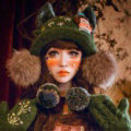 Retro Crystal Bow Girl Knitted Wool Beanies Caps Winter Warm Cat Ears Fur Ball Hats - Green