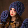 Retro Elegant Beret Knitted Wool Hats Girls Winter Warm Lily Flower Pearl Caps - Blue