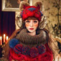 Retro Embroidered Knitted Wool Beanies Caps Warm Cat Ears Rabbit Fur Protectors Hats - Red