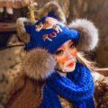 Retro Embroidered Little Dear Knitted Wool Beanies Caps Winter Warm Cat Ears Fur Ball Hats - Blue