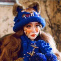 Retro Embroidered Little Dear Knitted Wool Beanies Caps Winter Warm Cat Ears Hats - Blue