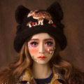 Retro Embroidered Little Dear Knitted Wool Beanies Caps Winter Warm Cat Ears Hats - Coffee