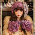Retro Knitted Wool Hats Girls Winter Warm Sweet Rabbit Fur Flower Pearl Beret Caps - Purple