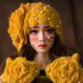 Retro Knitted Wool Hats Girls Winter Warm Sweet Rabbit Fur Flower Pearl Beret Caps - Yellow