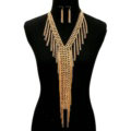 Retro Multilayer Tassel Choker Necklace Showgirl Party Dress Decor Jewelry - Gold