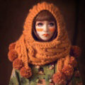 Retro Twist Knitted Wool Caps Hats Women Winter Long Fur Ball Bib Hooded Scarf - Orange