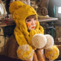 Retro Twist Knitted Wool Caps Hats Women Winter Long Fur Ball Bib Hooded Scarf - Yellow