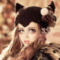 Sexy Witch Devil Horns Cat Ears Knitted Wool Hats Winter Warm Fur Ball Beanies Caps - Black