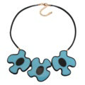 Simple Female Three Flowers Bib Necklace Sweater Chain Dress Decro Jewelry - Blue
