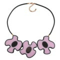 Simple Female Three Flowers Bib Necklace Sweater Chain Dress Decro Jewelry - Pink