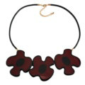 Simple Female Three Flowers Bib Necklace Sweater Chain Dress Decro Jewelry - Red