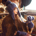 Simple Fur Pom Poms Knitted Wool Hats Women Winter Warm Ear Protector Beanies Caps - Blue