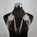 Special Offer Rhinestone Bridal Shoulder Chain Stage Body Necklace Jewelry - White