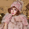 Sweet Girl Lace Flower Rabbit Fur Ball Knitted Wool Beanies Caps Winter Warm Hats - Pink