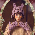 Sweet Girls Pearls Flower Knitted Wool Hats Hollow Design Rabbit Ears Beanies Caps - Purple