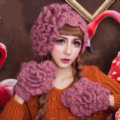 Sweety Pearl Flower Knitted Wool Hats Girls Winter Warm Lace Beret Caps - Light Purple