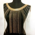 Unique Alloy Shoulder Necklace Showgirl Multi layer Heavy Tassel Body Chains Jewelry - Gold