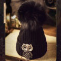 Unique Women Crystal Owls Knitted Wool Hats Winter Warm Fox Fur Pom Poms Caps - Black