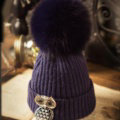 Unique Women Crystal Owls Knitted Wool Hats Winter Warm Fox Fur Pom Poms Caps - Blue