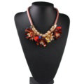 Unique Women Flowers Choker Necklace Sweater Chain Dress Decro Jewelry - Red