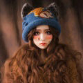 Vintage Embroidered Squirrel Wool Beanies Caps Winter Warm Cat Ears Knitted Hats - Blue